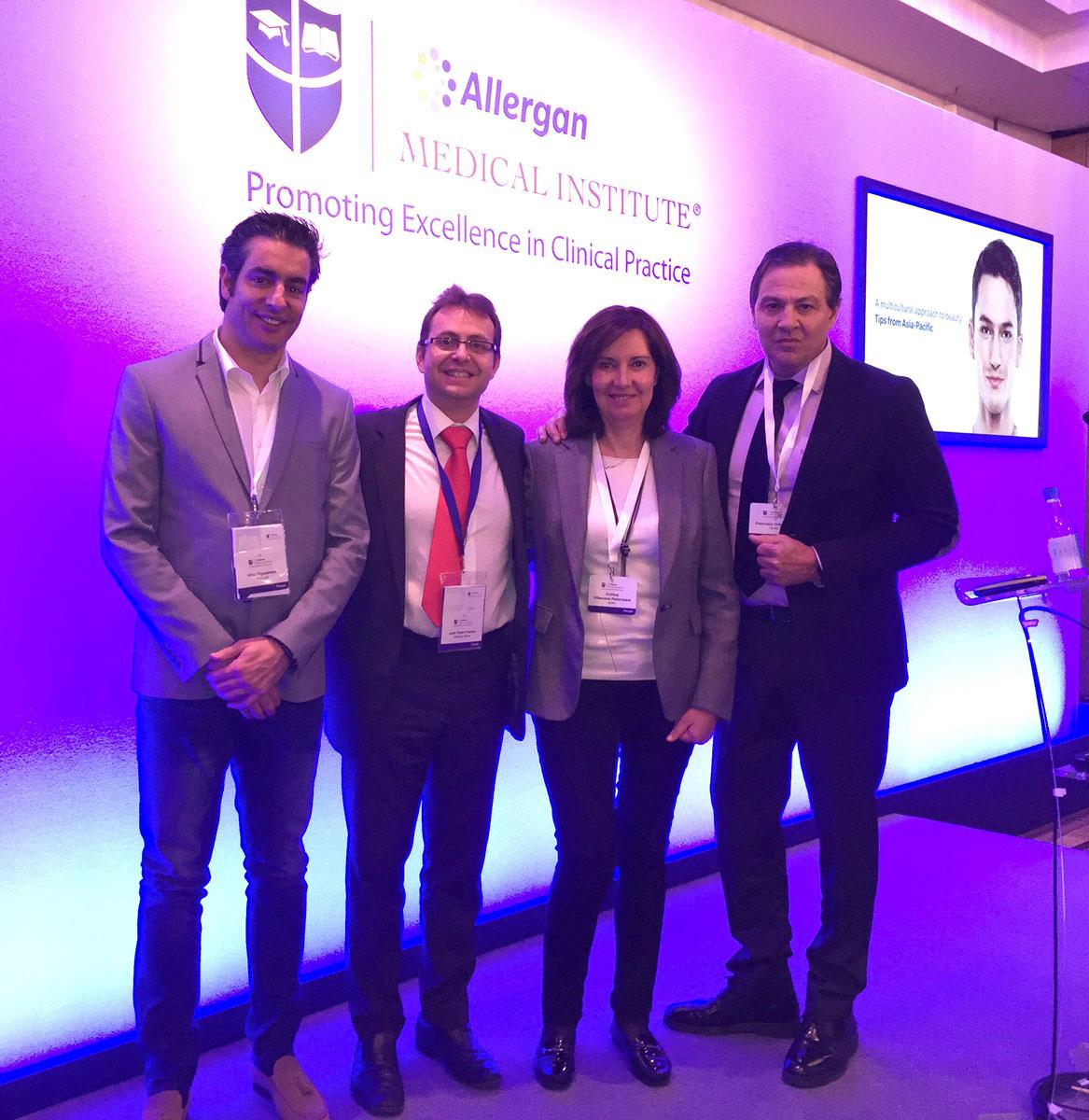 La Dra Villanueva con el Dr Figueredo Juan Pedro Franco y Dr Ortiz representando a España y Portugal - Londres 2016